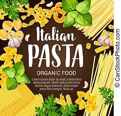 pâtes, herbes, épices, italien