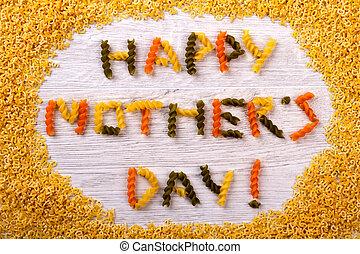 pâtes, inscription, jour mère, heureux