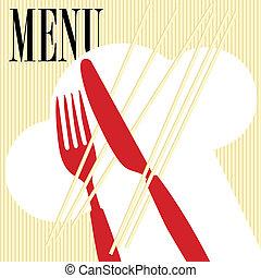 pâtes, menu, -, carte