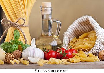 pâtes, spécifique, préparer, ingrédients