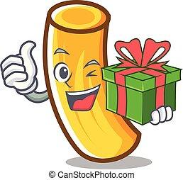 pâtes, tortiglioni, dessin animé, cadeau, mascotte