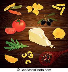 pâtes, vecteur, éléments