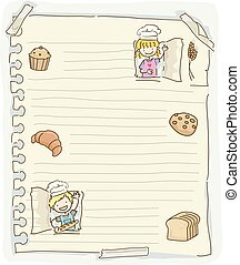 pâtisseries, papier, stickman, illustration, gosses