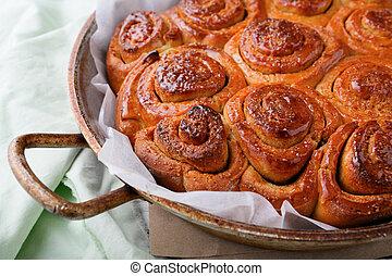 pães, com, canela, closeup