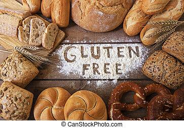 pães, gluten, livre