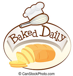 pão, assado, diariamente, etiqueta