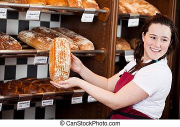 pão, assistente, mostrando, panificadora, sorrindo, pão
