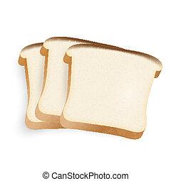 pão branco, fundo, ilustração, pedaços