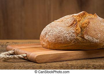 pão branco, sobre, madeira, fundo