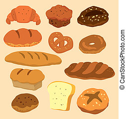 pão, caricatura, ícone