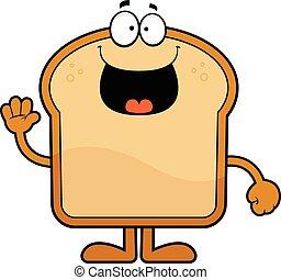 pão, caricatura, feliz