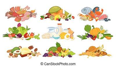 pão, carne, ícones, alimento, legumes, diariamente, vetorial...