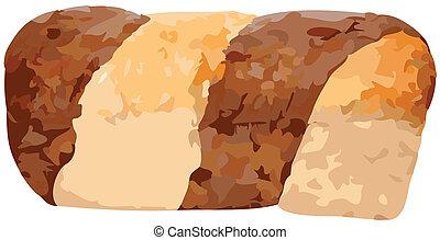 pão, centeio, vetorial, illust, inteiro, mármore