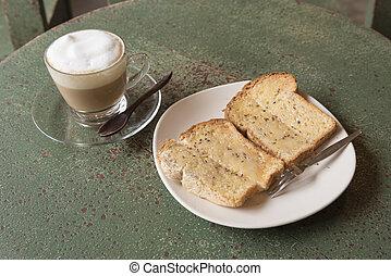 pão, com, café