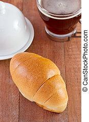 pão, com, xícara café