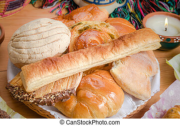 pão doce, sortido, tradicional, mexicano, panificadora