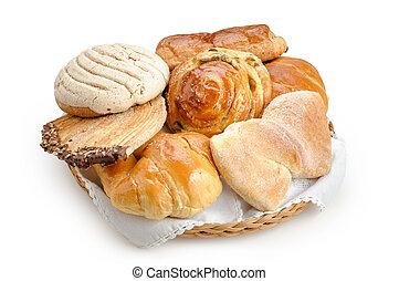 pão doce, sortido, tradicional, mexicano, panificadora, isolado