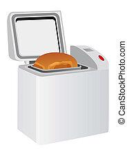 pão, fabricante, elétrico