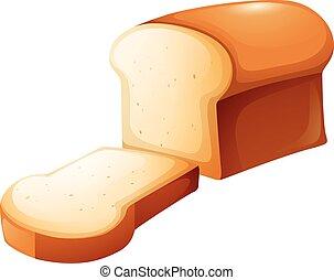 pão, fatia, único, pão