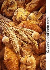 pão fresco, e, massa