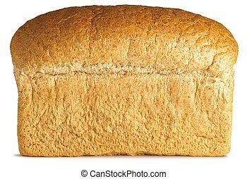 pão, isolado, caminho cortante, branca, granary