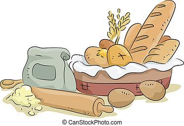 pão, materiais, ingredientes assando