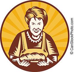pão, mulher, antigas, dentro, jogo, apresentando, freshly,...