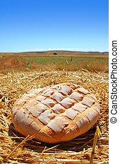 pão, pão, redondo, ligado, dourado, trigo, palha