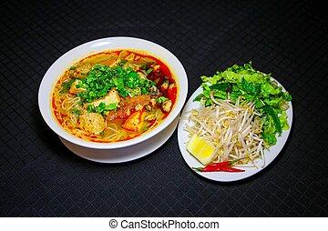 pão, rieu, ou, vietnamita, vermicelli, sopa noodle, com,...
