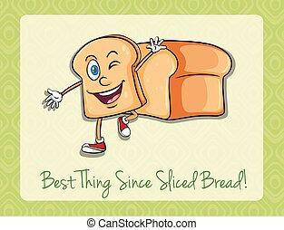 pão, rosto, fatia, feliz