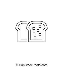 pão, símbolo, -, panificadora, vetorial, pão