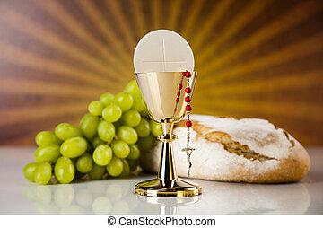 pão, santissimo, cristianismo, religião, comunhão, vinho