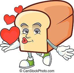 pão, segurando, personagem, heart., branca, caricatura
