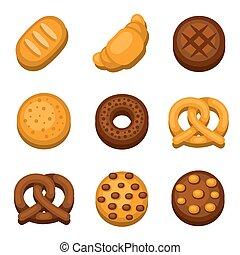 pão, set., vetorial, panificadora, ícones
