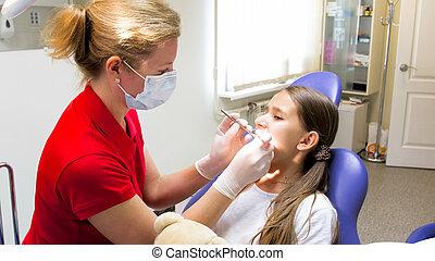 pädiatrisch, weibliche , instrumente, mädels, zahnarzt, prüfen, z�hne