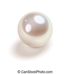pärla, vit