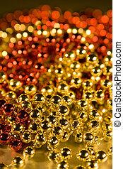 pärlhalsband, element, design, shinny, bakgrund, jul