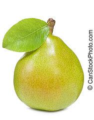 päron, med, blad