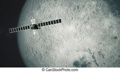 pässe, satellit, teleskop, mond