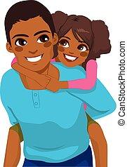 på ryggen, fader, amerikan, dotter, afrikansk