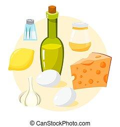 påklädning, sallad, ingredients., sauce, lätt, caesar, ...