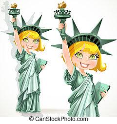 påklædt, pige, statue, frihed