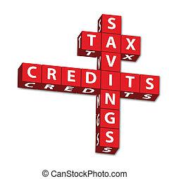 pålaga, besparingar, och, krediterar
