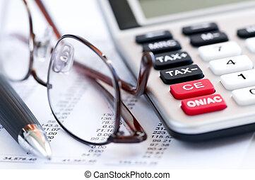 pålaga, räknemaskin, fålla och, glasögon