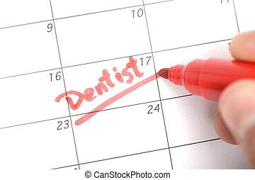 påminnelse, för, tandläkare möte