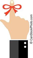 påminnelse, finger, omkring, sträng