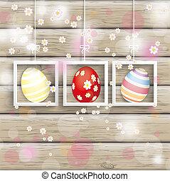 påsk, 3, inramar, ägg, körsbär, blomningen, ved