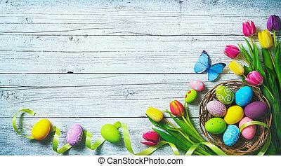 påsk, bakgrund., färgrik, fjäder, tulpaner, med, fjärilar, och, målad, ägg