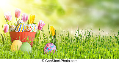 påsk, bakgrund, med, ägg, och, tulpaner