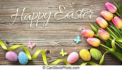 påsk, bakgrund, med, färgrik, ägg, och, fjäder, tulpaner